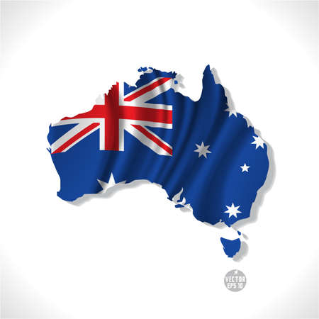 Illustration for Australia map with waving flag isolated against white background, vector illustration  - Royalty Free Image