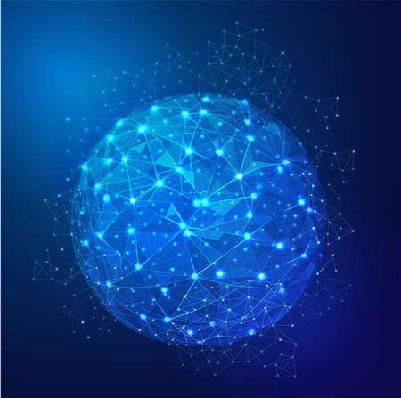 Ilustración de Global Digital mesh network, vector   illustration - Imagen libre de derechos