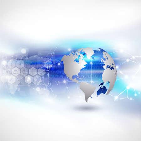 Illustration for World network communication and technology background, vector illustration - Royalty Free Image