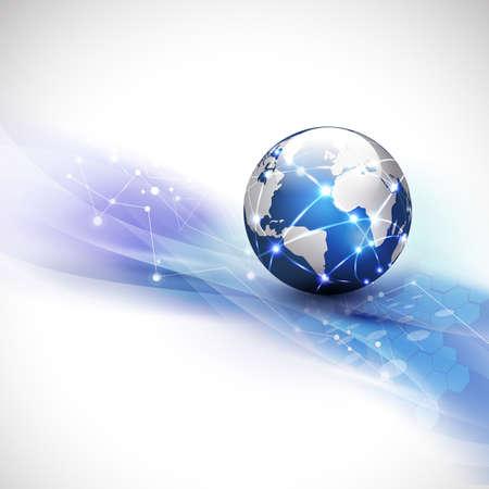 Photo pour World network communication and technology concept motion flow background, vector illustration - image libre de droit