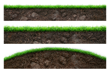 Photo for Set of soil and green grass isolated on white - Royalty Free Image