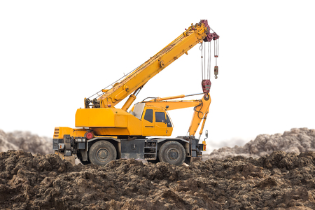 Photo for Auto crane for construction site equipment isolated on white background with clipping path - Royalty Free Image