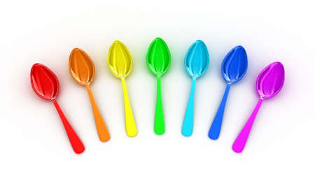 Illustration of multicolored spoons on a white background
