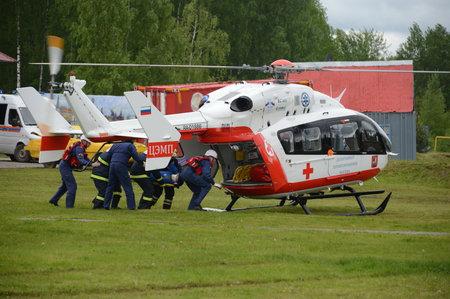 Foto de Helicopter emergency medical aid EU-145 on the range of the Noginsk rescue center EMERCOM of Russia at the International Salon Integrated Security-2017 - Imagen libre de derechos