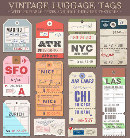 Illustration for A set of high detail grunge Passport and Luggage Tags, Tickets and stamps Vector file is EPS v 10  Transparency effects are present Vector file is organised with layers, with every element separated from text elements to make editing easier  - Royalty Free Image