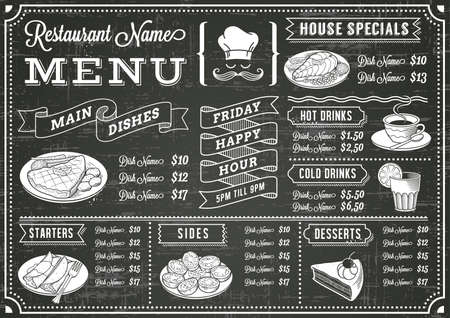 Ilustración de A full vector template Chalkboard menu for restaurant and snack bars with grunge elements - Imagen libre de derechos
