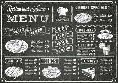 Ilustración de A full template Chalkboard menu for restaurant and snack bars with grunge elements. File is organized with layers for ease of use. - Imagen libre de derechos