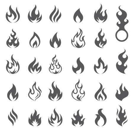 Illustrazione per Big set of 29 flame and fire vector icons. Vector file is fully layered - Immagini Royalty Free