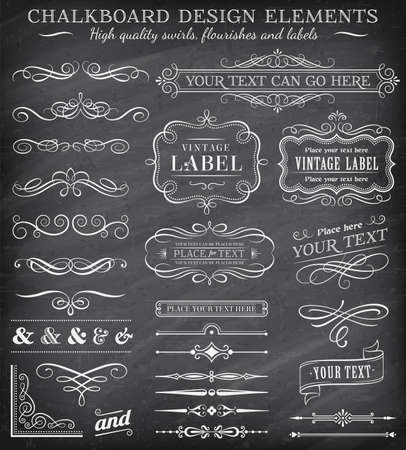 Illustration pour Big collection of vector decorations, swirls, banners and more vintage design elements on a detailed vector chalkboard background - image libre de droit