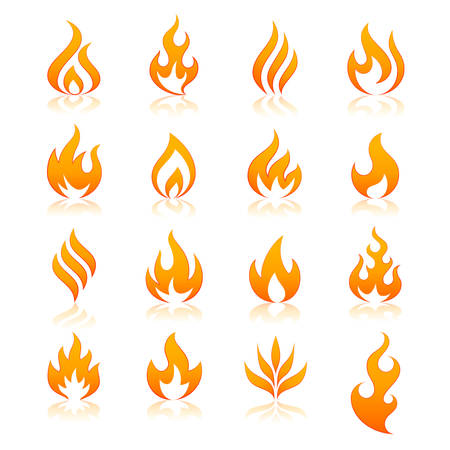 Illustration for set of 16 flame and fire vector icons. Vector file is fully layered - Royalty Free Image