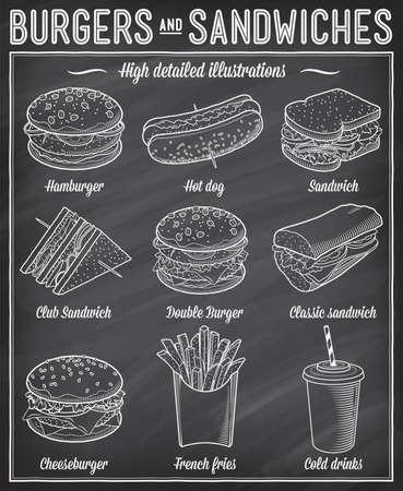 Illustration pour Gorgeous vector illustrations set of different kind of fast food specialties. - image libre de droit