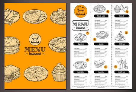 Ilustración de Modern lookinh vector template for a Folded Restaurant Menu with lots of nice vintage food illustrations - Imagen libre de derechos