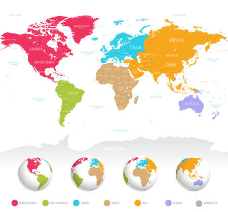 Illustration pour High detail vector colorful map of the world with political boundaries, country names and 3D globes of the earth. - image libre de droit