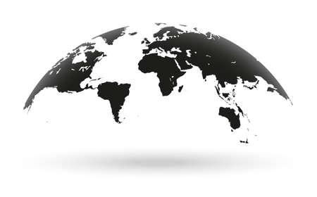 Ilustración de Detailed black world map, mapped on an open globe, isolated on white background - Imagen libre de derechos