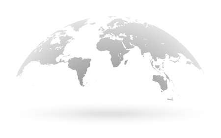 Ilustración de Detailed grey world map, mapped on an open globe, isolated on white background - Imagen libre de derechos