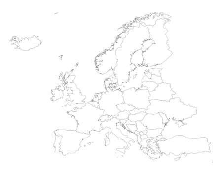Illustration pour Europe outline silhouette map with countries - image libre de droit