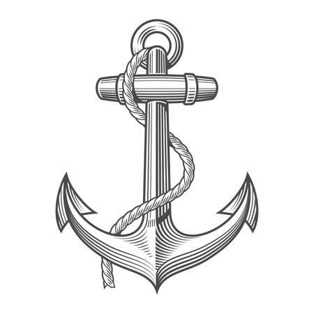 Ilustración de Anchor Vintage Woodcut Style isolated on white background - Imagen libre de derechos