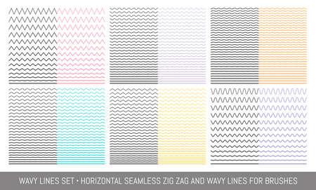 Ilustración de Set of wavy, zigzag, sinuous horizontal lines - Imagen libre de derechos
