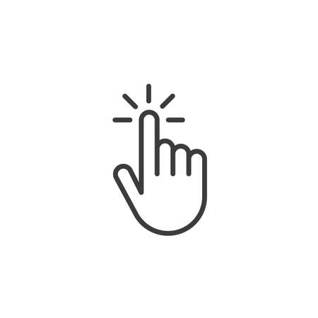 Illustration pour Click hand outline icon. linear style sign for mobile concept and web design. Touching finger simple line vector icon. Symbol,   illustration. Pixel perfect vector graphics - image libre de droit