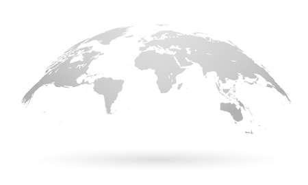 Illustration pour Spherical Curved Gray World Map - image libre de droit