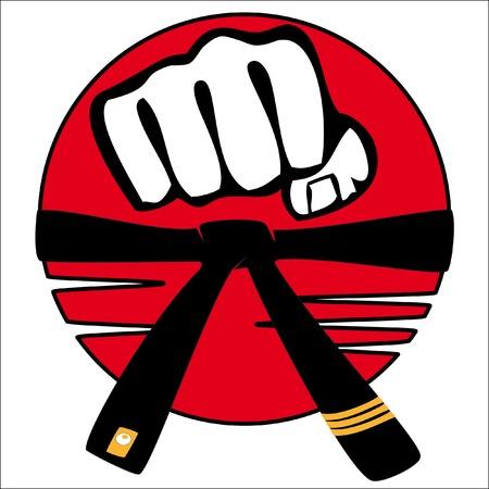 MARTIAL ARTS ORIGINAL EMBLEM, LOGO.Fist and black belt