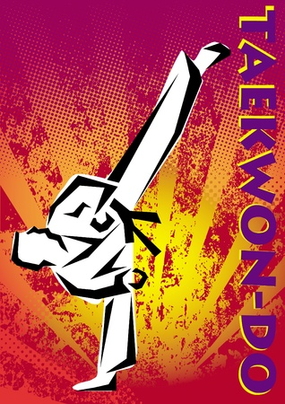 Taekwon-do poster. martial arts colored emblem, simbol.