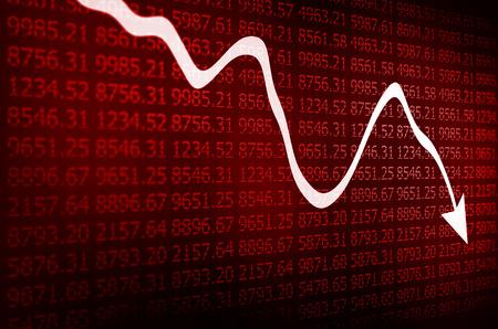 Foto de Stock Market - Arrow Graph Going Down on red Display - Imagen libre de derechos