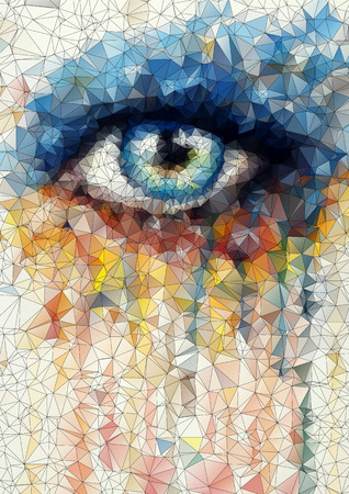 Ilustración de beautiful eye in geometric styling abstract geometric background  stained-glass window vector - Imagen libre de derechos