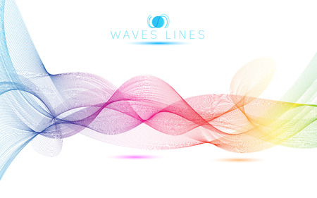 Ilustración de great rainbow waves colorful gradient light blend line vector abstract - Imagen libre de derechos