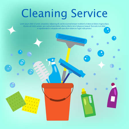 Illustration pour Cleaning service concept flat style vector illustration - image libre de droit