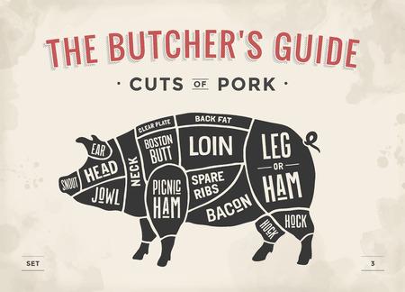 Ilustración de Cut of meat set. Poster Butcher diagram, scheme and guide - Pork. Vintage typographic hand-drawn. Vector illustration - Imagen libre de derechos