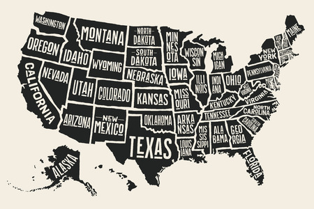 Illustration pour Poster map of United States of America with state names. Black and white print map of USA for t-shirt, poster or geographic themes. Hand-drawn black map with states. Vector Illustration - image libre de droit