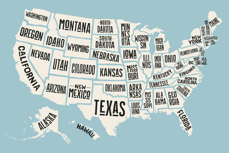 Illustration pour Poster map of United States of America with state names. Print map of USA for t-shirt, poster or geographic themes. Hand-drawn colorful map with states. Vector Illustration - image libre de droit