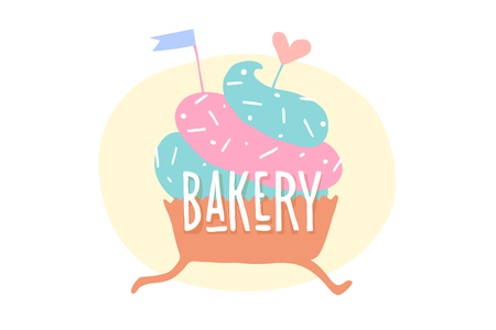 Cupcake with heart and text Bakery. Design elements of cupcake icon for bakery menu, poster, banner. Colorful design of running cupcake for sweet shop, cake shop or cafe. Vector illustration