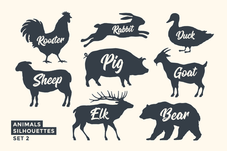 Ilustración de Animals silhouette set. Black-white silhouette of animals with lettering names. Design template for grocery, butchery, packaging, meat store. Farm and wild animals theme. Vector Illustration - Imagen libre de derechos