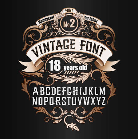 Illustration for Vintage label font. Cognac label style with vintage ornament - Royalty Free Image