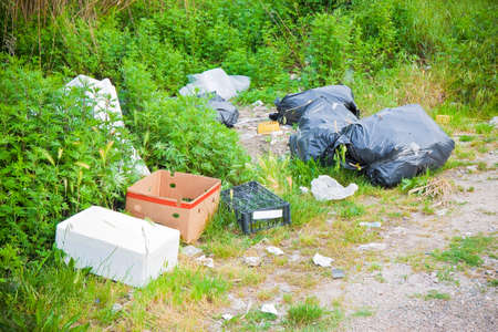 Photo for Illegal dumping in the nature; garbage bags and boxes left in the nature - Royalty Free Image