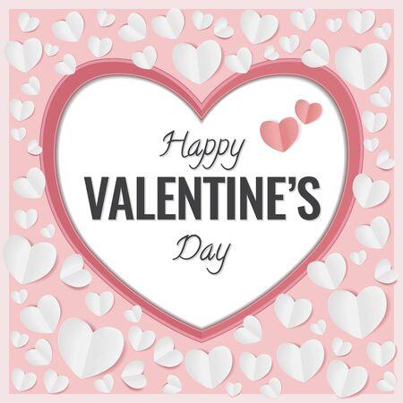 Ilustración de Happy Valentines Day Card. Big Heart with white small butterfly hearts - Imagen libre de derechos