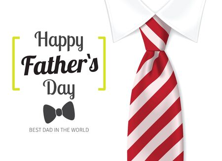 Ilustración de Happy father`s day greeting card. Fathers day background with calligraphic text with red tie and white shirt - Imagen libre de derechos