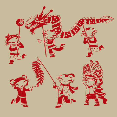 Illustration for Chinese paper-cutting art: Kids playing dragon dance, lion dance and firecrackers to celebrate the Chinese new year coming - Royalty Free Image