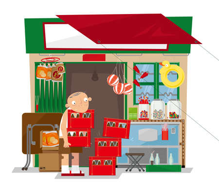 Illustration for Old local convenience store concept design - Royalty Free Image