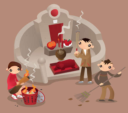 Illustration pour A Hong Kong family visit the tomb of their ancestors, pray and give offerings during Tomb-sweeping day (Ching Ming Festival) - image libre de droit