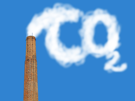 Photo for bricks factory chimney with symbolic emission of a co2 - Royalty Free Image