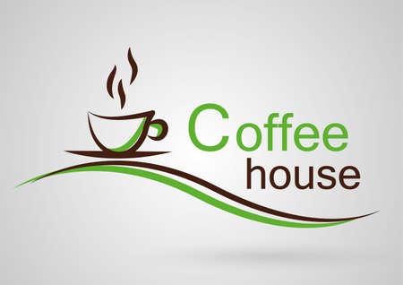 Ilustración de Simple Logo coffee house green - Imagen libre de derechos