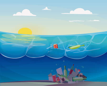 Illustration pour Pollution problem in the ocean: - image libre de droit