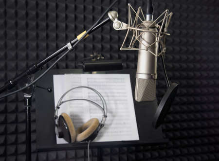 Photo for Condenser microphone in vocal recording room  - Royalty Free Image