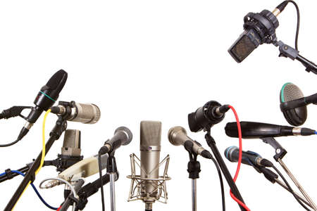 Photo for Conference meeting microphones prepared for talker - isolated on white background  - Royalty Free Image