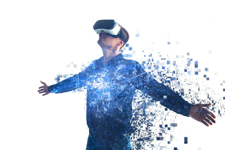 Photo pour A person in virtual glasses flies to pixels. The man with glasses of virtual reality. Future technology concept. Modern imaging technology. - image libre de droit