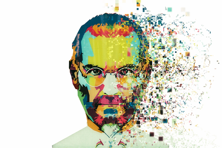Foto de Christmas Island, Australia, August 8, 2017: an illustration in the art style in the form of a mosaic Steve Jobs. Fragmented by pixels. - Imagen libre de derechos