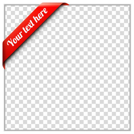 Illustration pour Red corner ribbon template with white paper frame and transparent background  Put your own text and background image  Corner ribbon vector illustration - image libre de droit